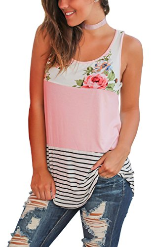 Hibluco Women's Casual Sleeveless Long Tunic Tops Floral Blouse Stripe Shirt (Large, Pink) (Stripe Long Top)