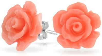 Bling Jewelry Pink Resin Rose Stud Earrings Silver Plated