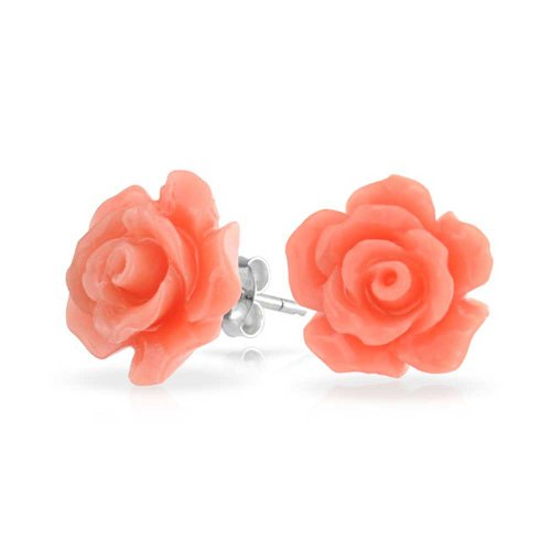 3D Peach Orange Craved Rose Flower Stud Earrings For Women For Teen For Mother Silver Plated Post