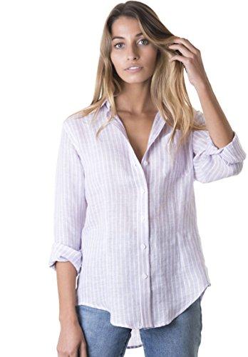 CAMIXA Women's 100% Linen Casual Shirt Slim Fit Button-Down Airy Basic Blouse XS Lilac