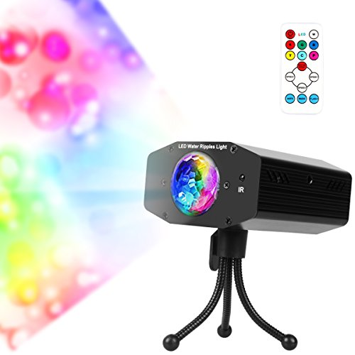 Wishwill Portable Water Wave RGB LED Stage Lighting Ocean Wave Projector Light 7 Color with Remote Control for KTV Party Wedding Club Bar (Pro Dj Club Stage)