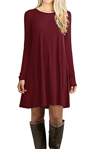 LILBETTER Women's Long Sleeve Casual Loose T-Shirt Dress (Wine Red L)