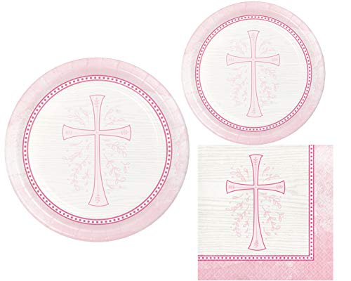 (Inspirational Religious Party Supplies: Bundle Includes Dinner Plates, Dessert Plates and Napkins for 8 People in a Divinity Cross Design)