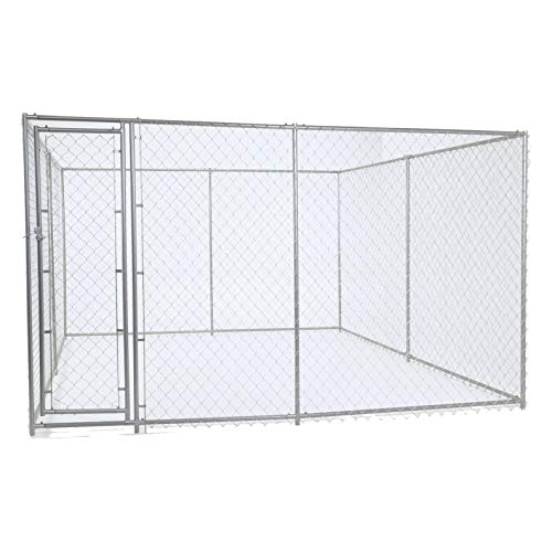 Chain Link Dog Kennel – Lucky Dog Outdoor Heavy Duty Pet Kennel – This Pet Cage System is Perfect For Containing Larger Dogs and Small Animals. Galvanized chain link doesn't kink or tangle. Two setup options (5'W x 15'L x 6'H or 10'W x 10'L x 6'H) ()