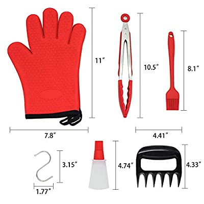 Tetako 11PCS BBQ Set,2 Barbecue Gloves + 2 Meat Shredder Claws + 1 Food Grade Silicone Tongs + 1 BBQ Basting Brush + 1 Oil Bottle Brush + 2 Non-stick BBQ Grill Mat + 2 S-shaped Hooks