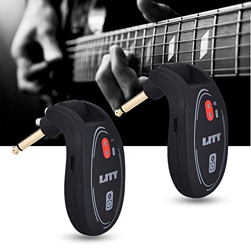 Guitar Pickups by Ammzzoo111, UHF 730MHz Wireless Transmitter Receiver System for Electric Guitar Bass Violin - Black ()