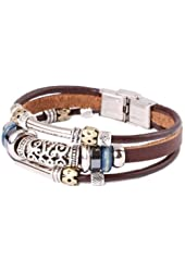 Fashion Plaza Triple Strand Leather Zen Bracelet with Bali Beads -19cm- L13