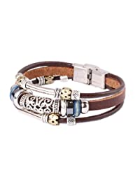 Triple Strand Leather Zen Bracelet with Bali Beads -19cm- L13