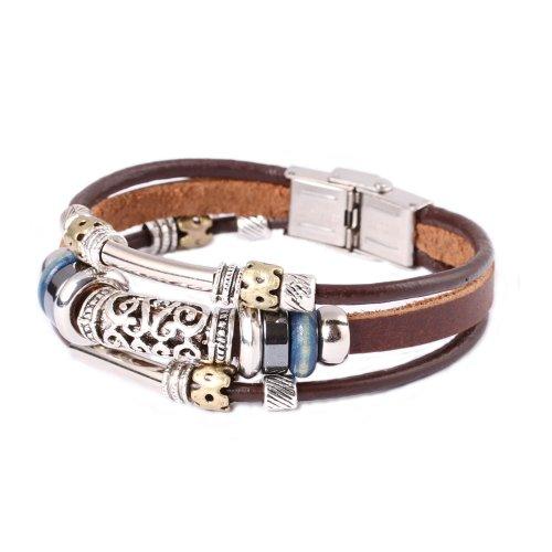 - FAIRY COUPLE Triple Strand Leather Zen Bracelet with Bali Beads -19cm- L13