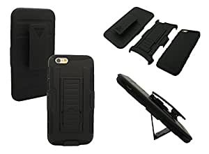 iPhone 6 Shockproof Case, Mobile King USA iPhone 6 (4.7) INCH SCREEN Shockproof Heavy Duty Belt Clip Case - BLACK