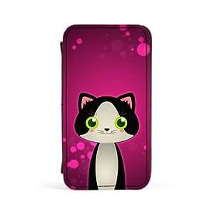 Tuxedo Cat Carcasa Protectora Premiun PU en Cuero, con Tapa para Apple® iPhone 4 / 4s de DevilleArt + Se incluye un protector de pantalla transparente GRATIS