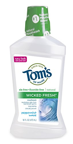 Mouthwash Peppermint Baking Soda - Tom's of Maine, Natural Wicked Fresh! Mouth Wash Bottle, Mouthwash, Kids Mouthwash, Peppermint Wave, 16 Ounce, 1-Pack