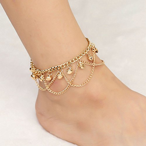 AKAOK Unique Bohemia Gold Beach Bead Chain Anklet Ankle Bracelet Foot Chain Bells Pendant Tassel Anklet Jewelry