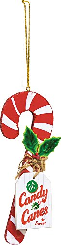 Vintage 5 Cent Sweet Candy Cane Wooden Christmas Ornament -