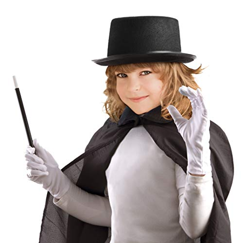 All in One Magic Set for Kids Halloween Magician Role Play Dress Up Costume Set, Hat, Cape, Gloves and Wand]()
