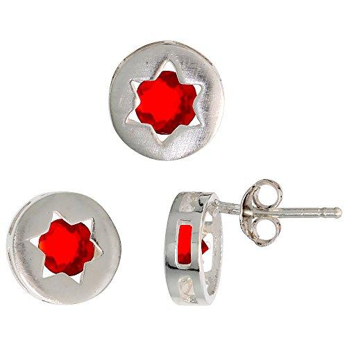 (Sterling Silver Jewish Star of David Stud Earrings (9mm) & Pendant Slide (9mm) Set, w/ Brilliant Cut Ruby-colored CZ Stones)