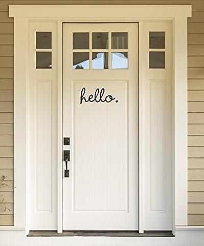 Front door sticker - HELLO - inspirational wall quotes sayings vinyl decals art (Black) - Vinyl Quote Design Sticker