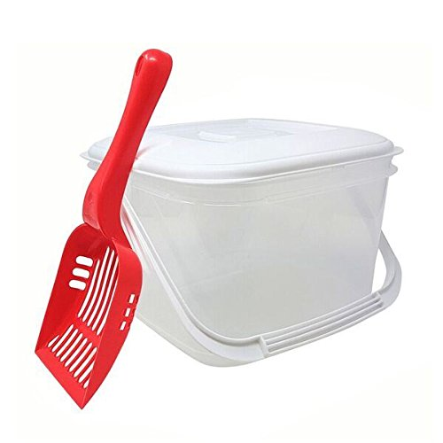 PET 6L Food Storage Canister & RED Scoop BPA Free Plastic TUB with LID and Handle & PET CAT Dog STORAGE UNIQUE