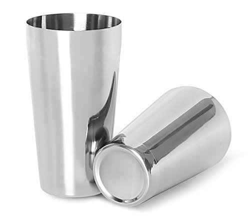 Stainless Spoon Steel Boston (LANZON Boston Cocktail Shaker: 2-Piece All Stainless Steel Boston Shaker Tins, 18oz Weighted & 26oz Unweighted Boston Cocktail Shaker Bar Set for Professional Bartenders and Home Cocktail Lovers)