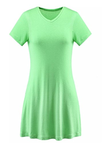A-Wintage Womens V-Neck Tunic Top Mini T-Shirt Dress (Plus Green -