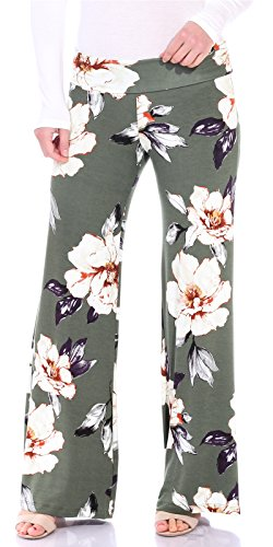 (Popana Womens Comfy Chic Wide Leg Boho Print Palazzo Pants Plus Size Made in USA Medium ST86 Bold Floral)