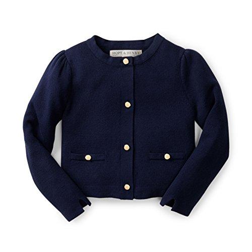 Knit Shirred Dress (Hope & Henry Girls' Navy Milano Stitch Cardigan Size 18-24 Months)