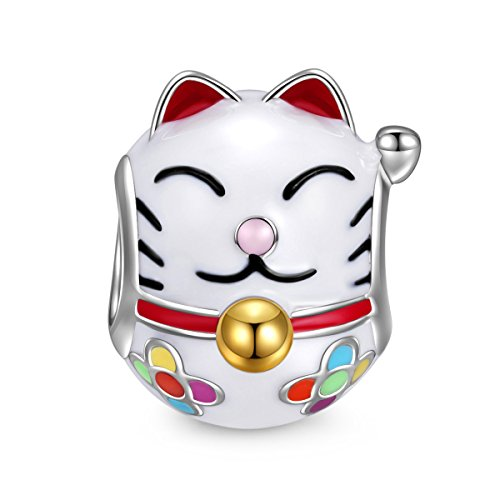 NINAQUEEN Lucky Cat 925 Sterling Silver Enamel Animal Bead Maneki Neko Fortune Cat Charm for Pandöra Charms Bracelets, Birthday for Teen Girls Kids Her Women Wife Mom for Cat Lovers