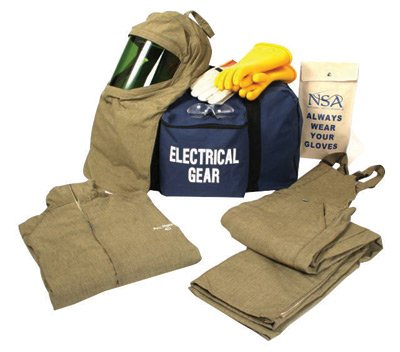 National Safety Apparel KIT4SC40XL10 ArcGuard UltraSoft Arc Flash Kit with Short Coat and Bib Overall, 40 Calorie, X-Large/Glove Size 10, Navy