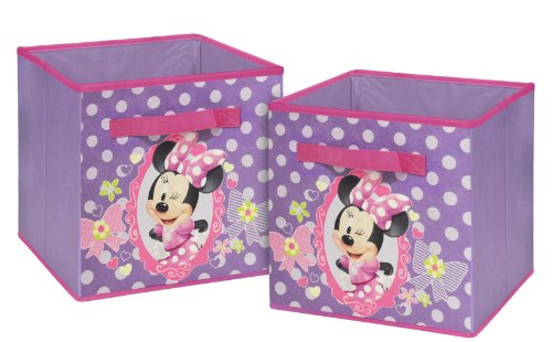 Disney Minnie Mouse Storage Cubes, Set of 2, 10-Inch Disney Mouse Storage