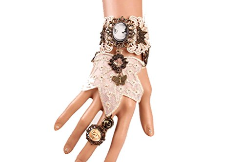 Charm.L Grace Gothic Black White Lace Bracelet Steampunk Vampire Slave Flowers Wristband Ring Wedding Accessories 4