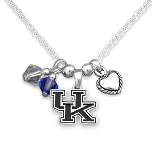 FTH Silver Tone Necklace Featuring Kentucky Wildcats Logo, Heart Charm, and Team Color Beads