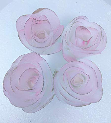 Four - 3D Edible Rice Paper Roses Flower for Cake Decoration, 3D Cake Toppers, Pink with Gold on the borders (Edible Rice Paper Flower)