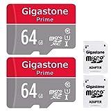 Gigastone 64GB Micro SD Card 2-Pack Micro SDXC U1 C10 with Mini Case
