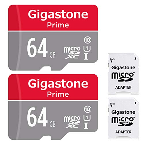 Gigastone 64GB 2-Pack Micro SD Card with Adapter, U1 C10 Class 10, Full HD available, Micro SDXC UHS-I Memory Card