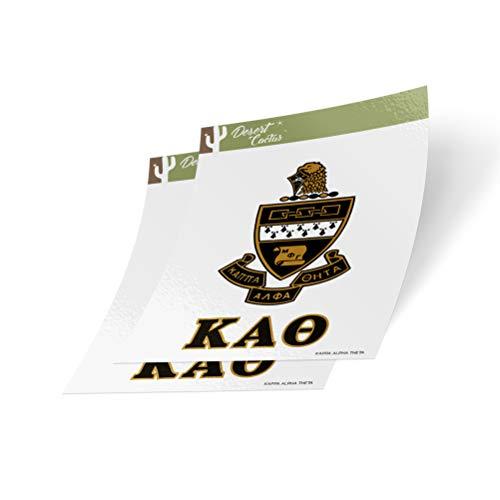 Desert Cactus Kappa Alpha Theta Crest & Letter 2-Pack Sticker Decal Greek for Window Laptop Computer Car Theta (Crest Sticker)