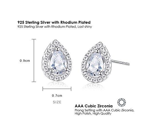 Ashley Jeweller 925 Sterling Silver Full Prong Cubic Zirconia Birthstone Teardrop Bridal Stud Earrings