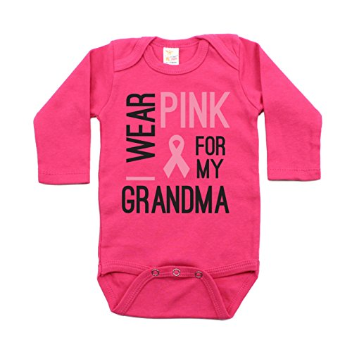 Breast Cancer Awareness Pink For My Grandma Long Sleeve Baby Bodysuit 0-3M, ()