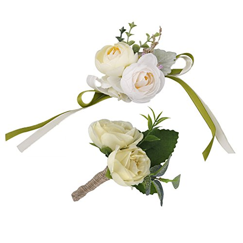 YSUCAU Wrist Corsage and Boutonniere Set, Brooch Bouquet Corsage Classic Artificial Groom Bride Bridesmaid Corsage Flowers with Pin for Wedding Prom Party ()
