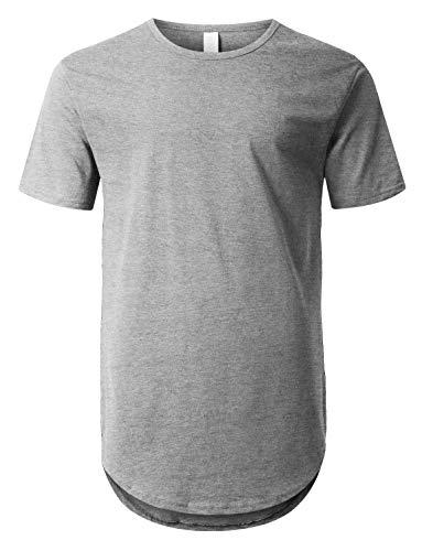 URBANCREWS Mens Hipster Hip Hop Basic Drop Tail Longline T-Shirt Hgrey, - Shirts Tee Cut