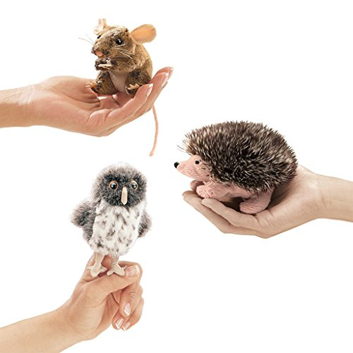 Folkmanis Finger Puppets Mini Woodland Creatures Bundle Spotted Owl, Field Mouse, Hedgehog