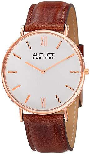 August Steiner Men s Slim Watch – Clear Dial with Striped Indices Hour Markers On Genuine Leather Strap – AS8166