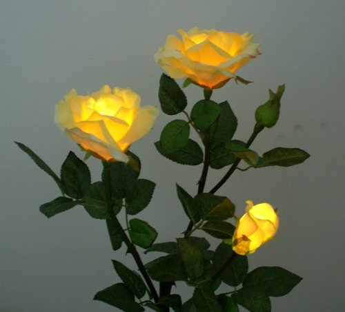 Solar Yellow Rose Flower Lights , Garden Outdoor Decorative Landscape LED Rose Lights