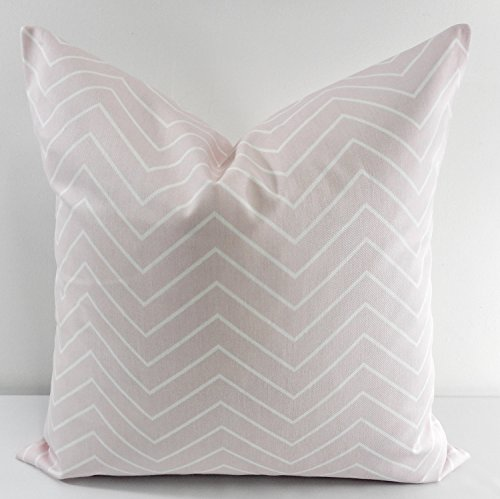 Bella Pink (light pink ) & white Chevron Pillow cover. Sham cover. throw Pillow cover. Select size.