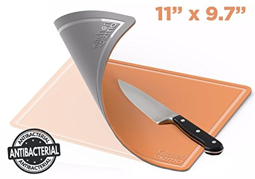 Kitchen Gizmo TPU Cutting Board - Flexible, Knife Friendly, Anti Bacterial Chopping Mats - Double Sided, Orange and Grey - Medium