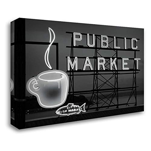 BW Public Market Sign I 40x28 Gallery Wrapped Stretched Canvas Art by Stefko, Bob