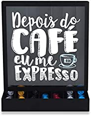 Porta-Cápsulas de Mesa/Parede Expresso, GeGuton, Preto/Estampa, Bistrô Café