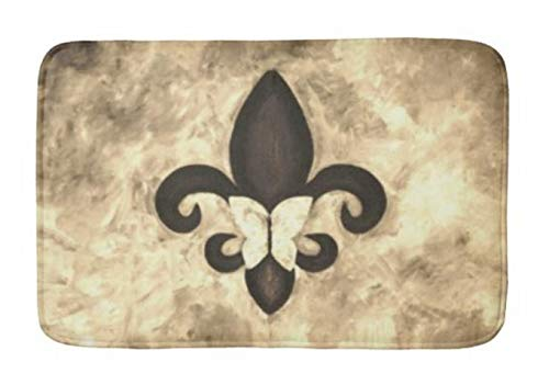 Aomsnet Fleur de lis Bath Sepia Beige Brown Butterfly Bathroom Decor Mat, Shower Rug Mat Water Absorbent Fast Drying Kitchen, Bedroom, Spa Tub. 24