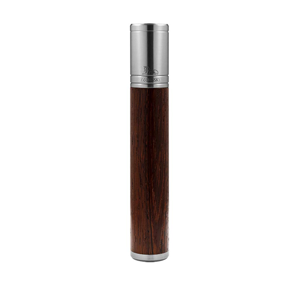 LUBINSKI Cigar Jar Tube,Portable Travel Cigar Humidor Accessories Cigar Holders Wood and Stainless Steel Cigar Case for 1 Fingers,Packed with Nice Gift Box (Silver)