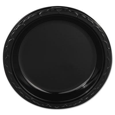 Silhouette Plastic Plates, 9 Black, 400/Carton (3 Cartons)