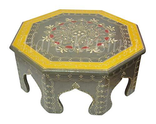 Hare Krishna HNC00241 Indian Small Side Table Wooden Footstool Puja Chowki Bajot14 x 14 x 6 ()